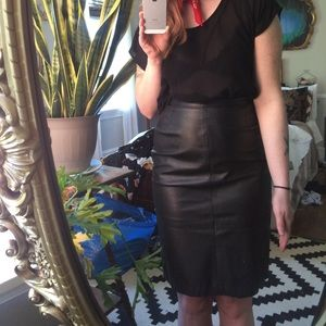 Dresses & Skirts - *VINTAGE* Genuine leather pencil skirt